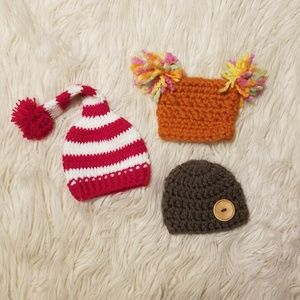 Other - (3) knitted newborn hats